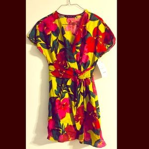 Zara floral v-neck dress with waist detail - S
